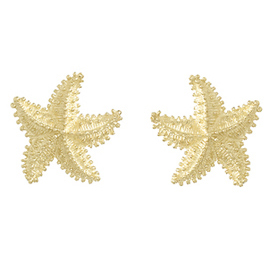 14kt Yellow Gold 20mm Beaded Starfish Post Earrings