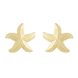 14kt Yellow Gold 21mm Dancing Starfish Post Earrings