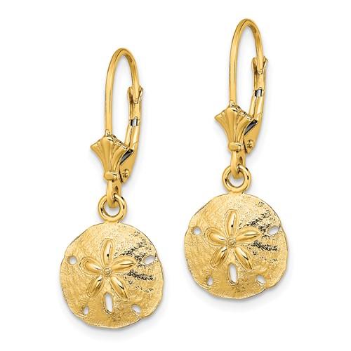 14kt Yellow Gold 1 1/4in Sand Dollar Dangle Earrings
