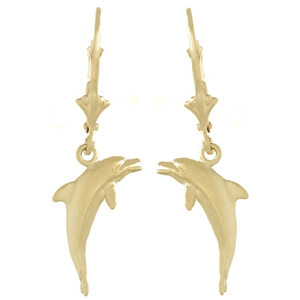 14kt Yellow Gold 33mm Dolphin Leverback Earrings