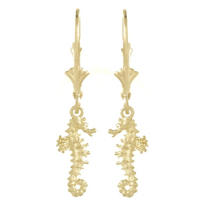 14k Yellow Gold Seahorse Leverback Earrings