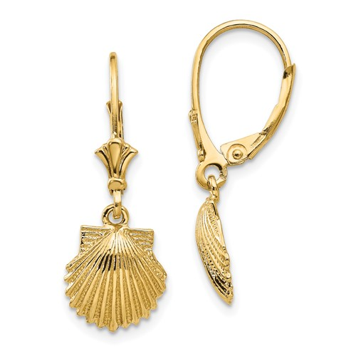 14kt Yellow Gold 28mm Scallop Shell Leverback Earrings