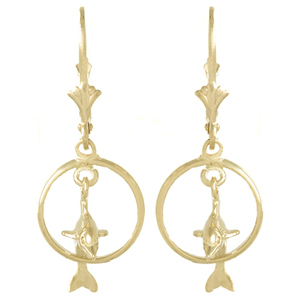 14kt Yellow Gold 32mm Dolphin Hoop Earrings