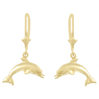 14kt Yellow Gold 28mm Dolphin Leverback Earrings