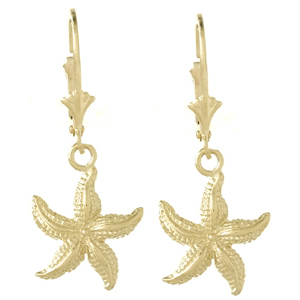 14kt Yellow Gold 32mm Starfish Leverback Earrings