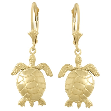 14kt Yellow Gold Moveable Sea Turtle Leverback Earrings