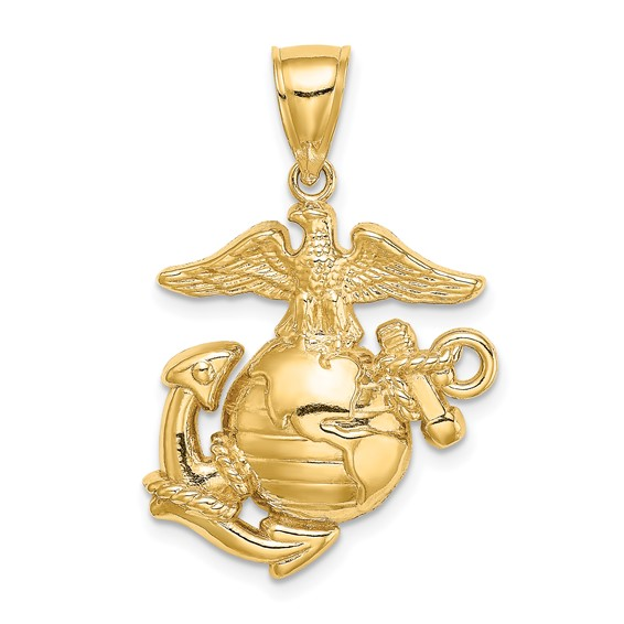 14k Yellow Gold 1in Eagle Globe and Anchor USMC Pendant