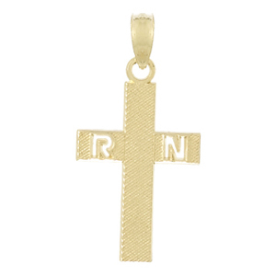 14kt Yellow Gold 3/4in RN Nurse Cross Pendant