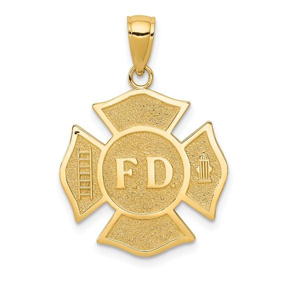 14k Yellow Gold 3/4in Fire Department Maltese Cross Pendant