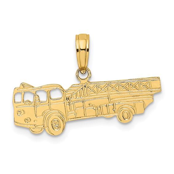14k Yellow Gold Fire Ladder Truck Pendant