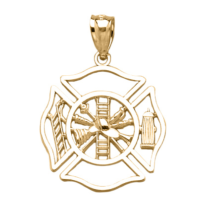 14k Yellow Gold 7/8in Firefighter Shield Outline Pendant