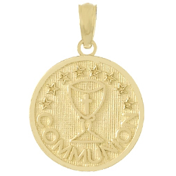 14kt Yellow Gold 1/2in Round Communion Pendant with Stars