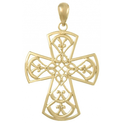 31mm Cut Out Cross Pendant 14kt Yellow Gold