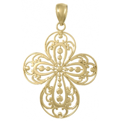 30mm Cross Cut-Out Filigree Pendant 14kt Yellow Gold