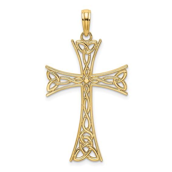 14kt Yellow Gold 1in Open Celtic Cross Pendant