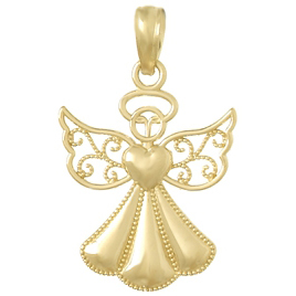 20mm Angel Pendant 14kt Yellow Gold