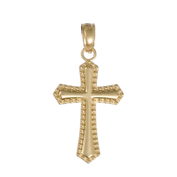 20mm Cross Pendant with Beaded Trim 14kt Yellow Gold