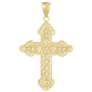 14kt Yellow Gold 5/8in Cross with Flowered Scroll