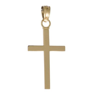 14kt Yellow Gold 5/8in 3-D Block Cross Pendant