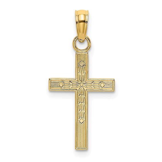 20mm Block Textured Cross Pendant 14kt Yellow Gold