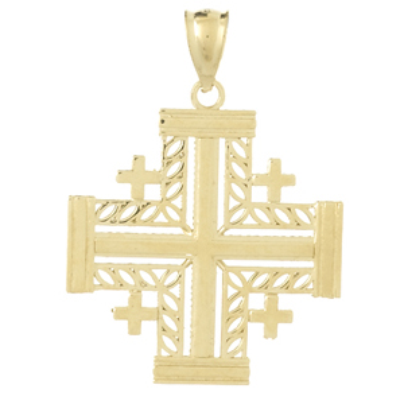 14kt Yellow Gold 7/8in Fancy Jerusalem Cross Pendant