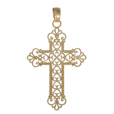 29mm Rope Cross Pendant 14kt Yellow Gold