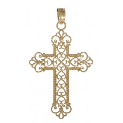 29mm Rope Cross Pendant 14kt Yellow Gold