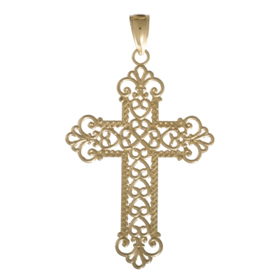 14kt Yellow Gold 38mm Rope Cross Pendant