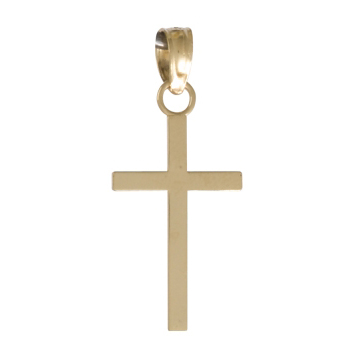 19mm 2-D High Polished Block Cross Pendant 14kt Yellow Gold