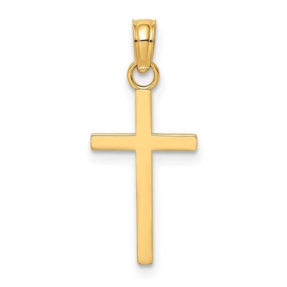 19mm 2-D High Polished Block Cross Pendant 14kt Yellow Gold