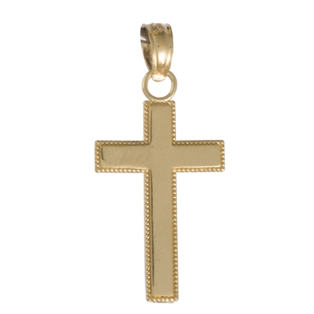 14kt Yellow Gold 1/2in Beaded Block Cross Pendant