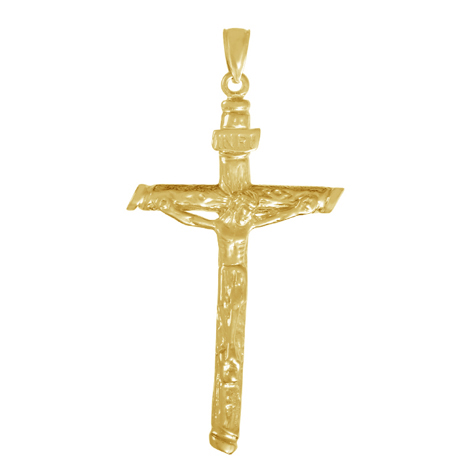 14kt Yellow Gold 1 1/2in Pointed Textured Crucifix Pendant
