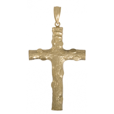58mm Textured Cross Pendant 14kt Yellow Gold