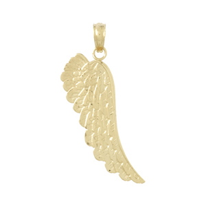 14kt Yellow Gold 1in Angel Wing Pendant