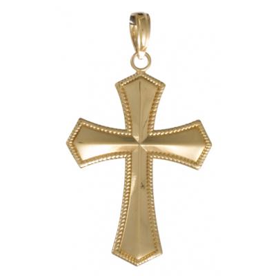 Beveled Cross Pendant 14kt Yellow Gold