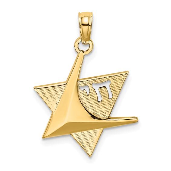 14kt Yellow Gold Modern Star of David Pendant