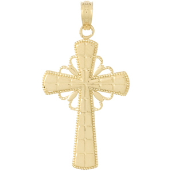 14kt Yellow Gold Beaded Edge Crusader Cross Pendant