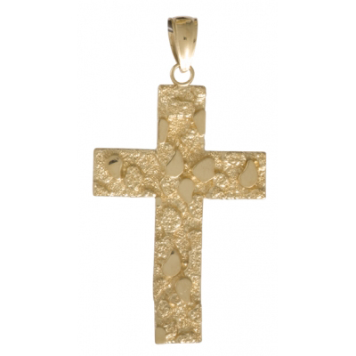 36mm Nugget Cross Pendant 14kt Yellow Gold