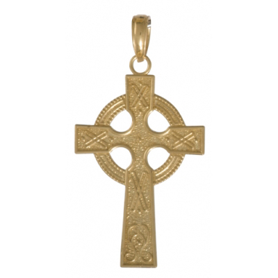 14kt Yellow Gold 7/8in Celtic Cross Eternity Circle Pendant