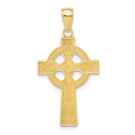 14kt Yellow Gold 7/8in Celtic Cross Eternity Circle Pendant