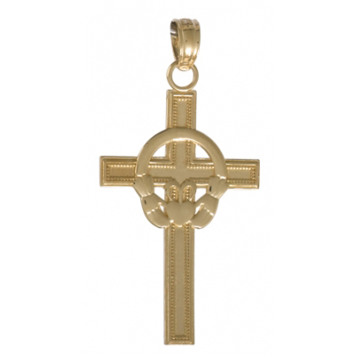 14kt Yellow Gold 3/4in Block Claddagh Cross Pendant