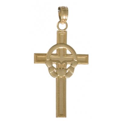 14kt Yellow Gold 3/4in Block Claddagh Cross Pendant