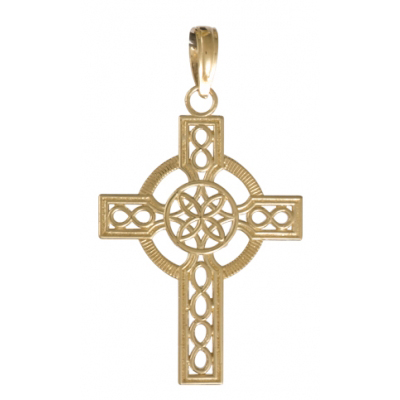 14kt Yellow Gold 7/8in Celtic Cut-out Cross Pendant