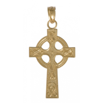 14kt Yellow Gold 5/8in Celtic Cross Pendant