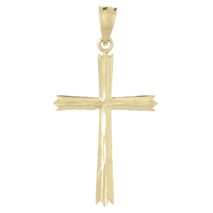 14kt Yellow Gold 1in Cross Pendant with Arrow Tips