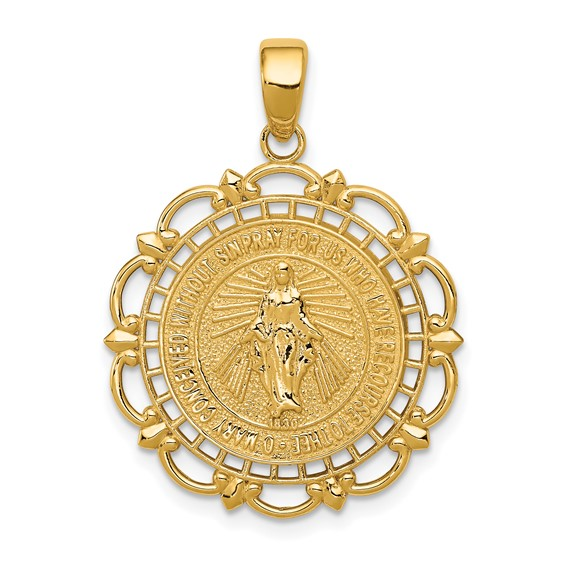 14kt Yellow Gold 7/8in Fancy Polished Miraculous Medal