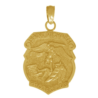 14kt Yellow Gold 1/2in Saint Michael Shield Medal Pendant