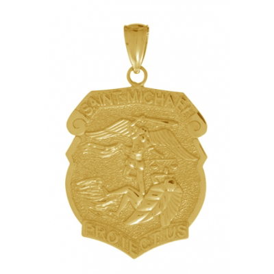 14kt Yellow Gold 3/4in Saint Michael Medal Pendant