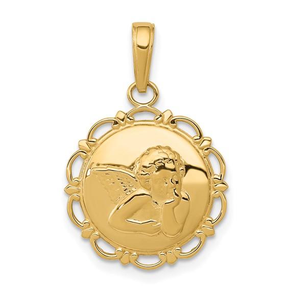 14kt Yellow Gold 1/2in Angel Cherub Pendant