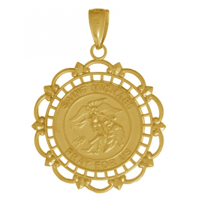 14kt Yellow Gold 7/8in St Michael Medal with Lace Frame